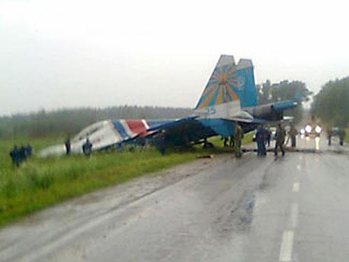 В Кубинки истребитель Су-27 Русских витязей выкатился за пределы ВПП