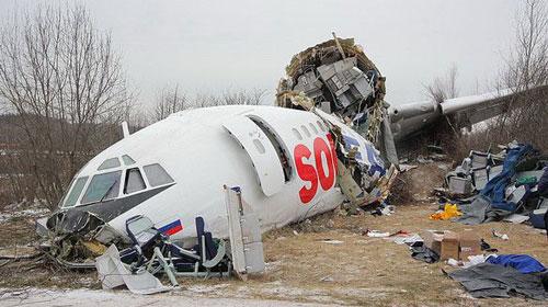 Фотографии с места аварийной посадки Ту-154 в Домодедово