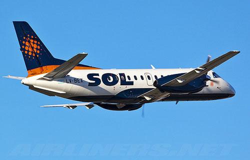 Пассажирский самолет Saab 340 компании SOL
