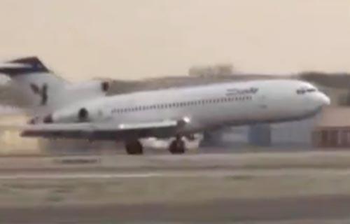 Boeing 727 компании IranAir совершил аварийную посадку без переднего шасси
